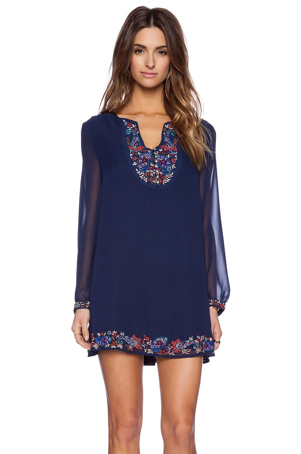 New Friends Colony Embellished Long Sleeve Dress in Navy | REVOLVE