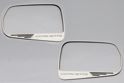 2014 Corvette Stingray Auto Dim Side View Mirror Trim 2Pc Brushed - Corvette Script