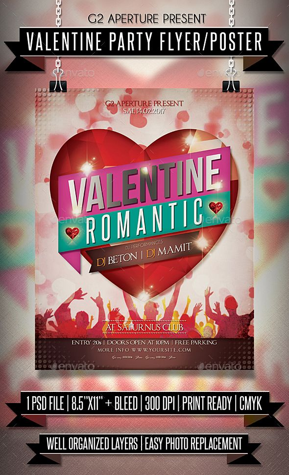 Valentine Party Flyer / Poster Party flyer, Template and Flyer