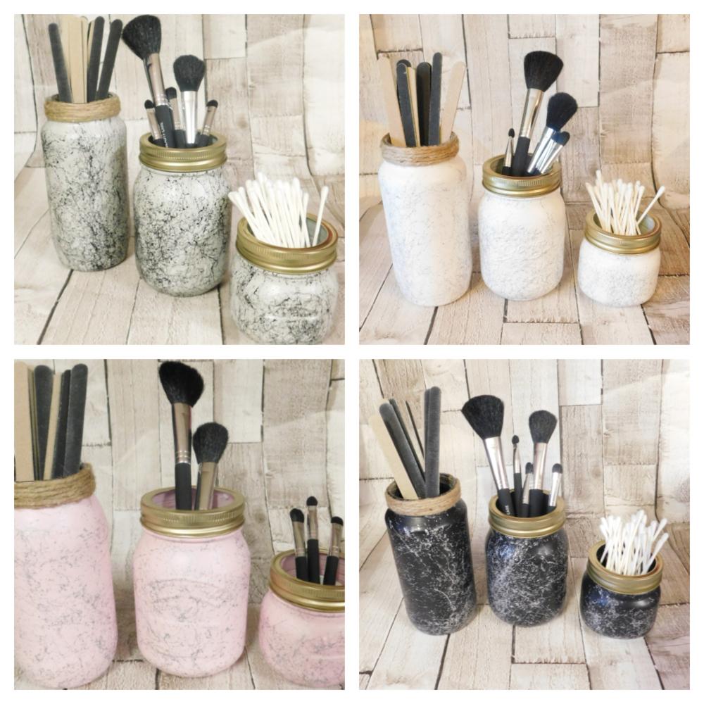 Marble Make Up Brush Holder Jars, Bathroom Storage Pink