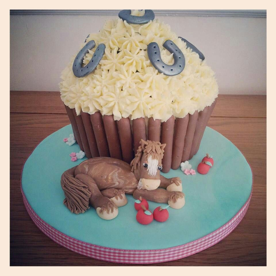 Horse themed giant cupcake Birthday ideas Pinterest Giant