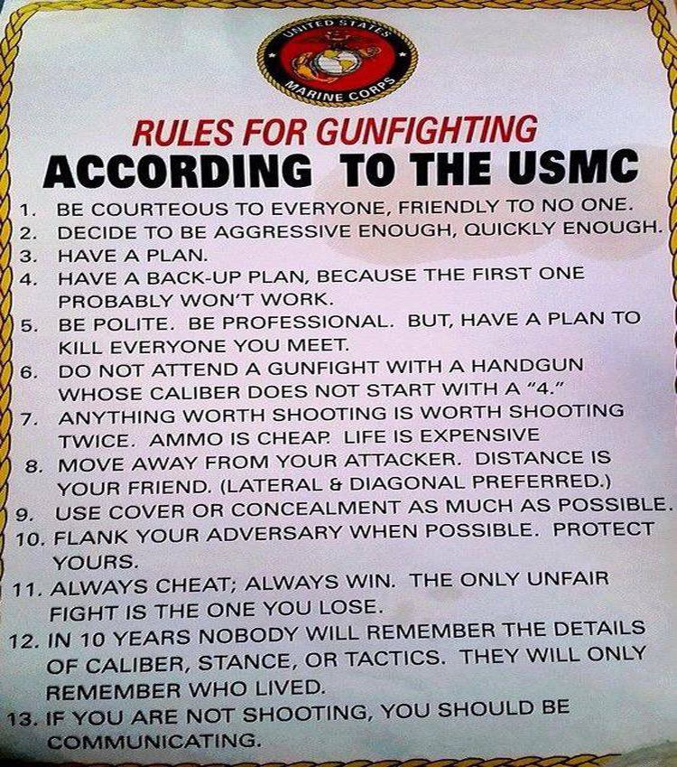 Meme Exposes US Marine Corps Rules For Gunfighting Usmc