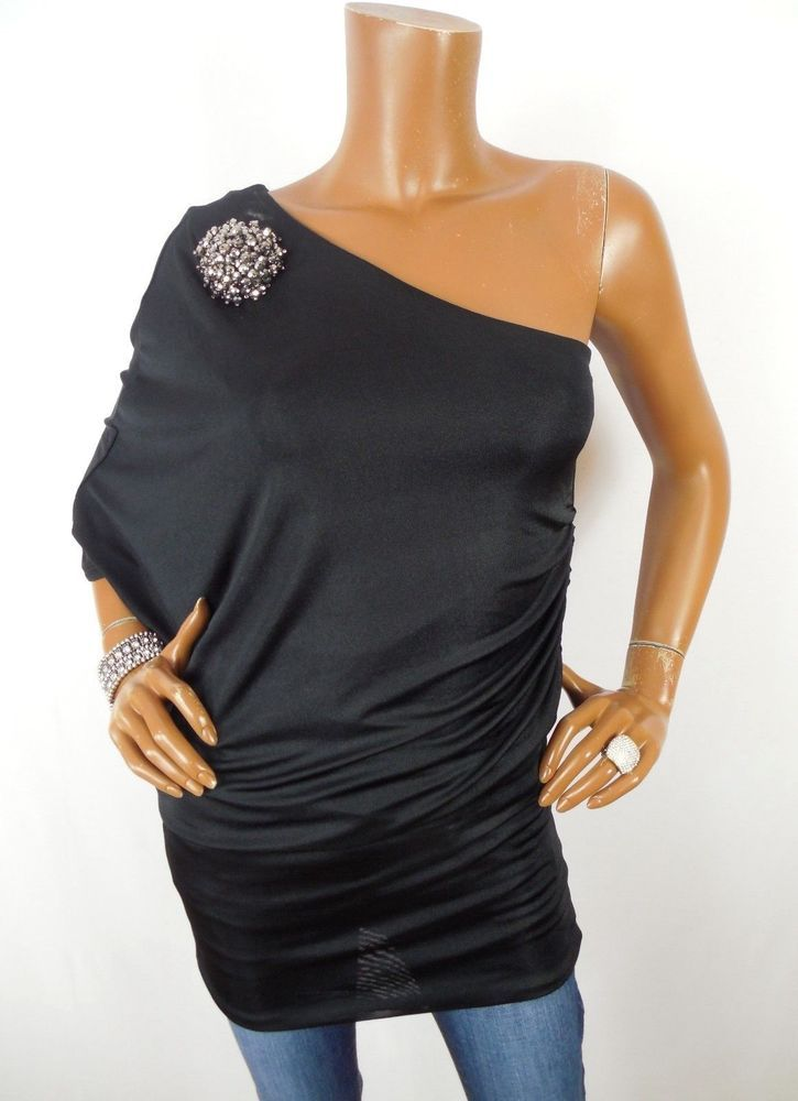 34ac3b5519f7e5 UMGEE Womens Top M SEXY Black Shirt Tunic Blouse One Shoulder Stretch  Brooch  UMGEE  Blouse  Casual