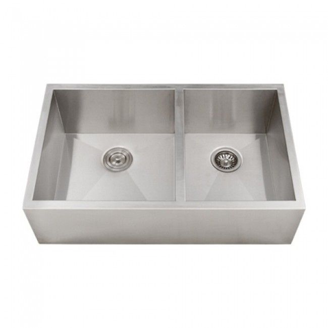 33 Inch Stainless Steel Narrow Flat Front Farmhouse Apron Kitchen Sink 60 40 Double Bowl In 2020 Apron Sink Kitchen Sink Farmhouse Sink Kitchen