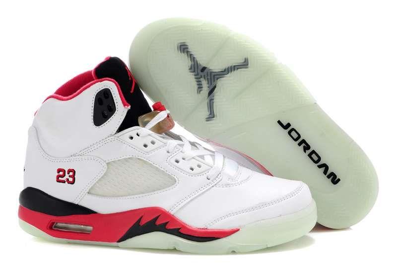 hot sales 5bc38 ab52a Men Air Jordan 5 Glow In The Dark White Red Black