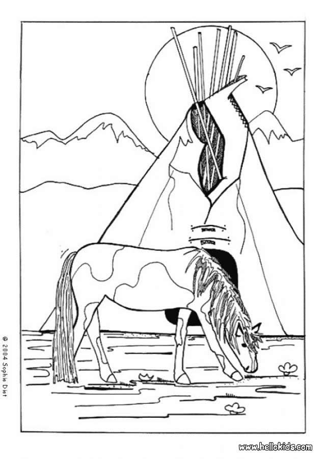 Indian Horse Coloring Page Indian Coloring Pages Color
