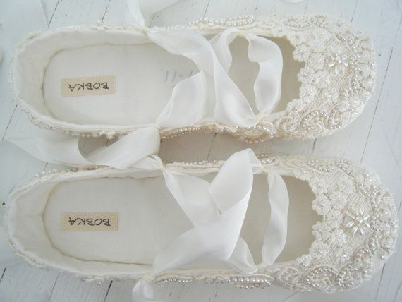 Ivory Ballet Flats Wedding Shoes Bridal Ballet Flats by BobkaBaby, $199.00