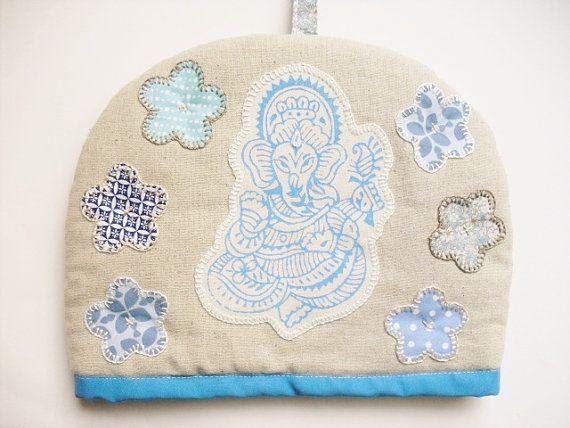 Ganesh applique linen tea cosy handmade by Ganesha's Rat