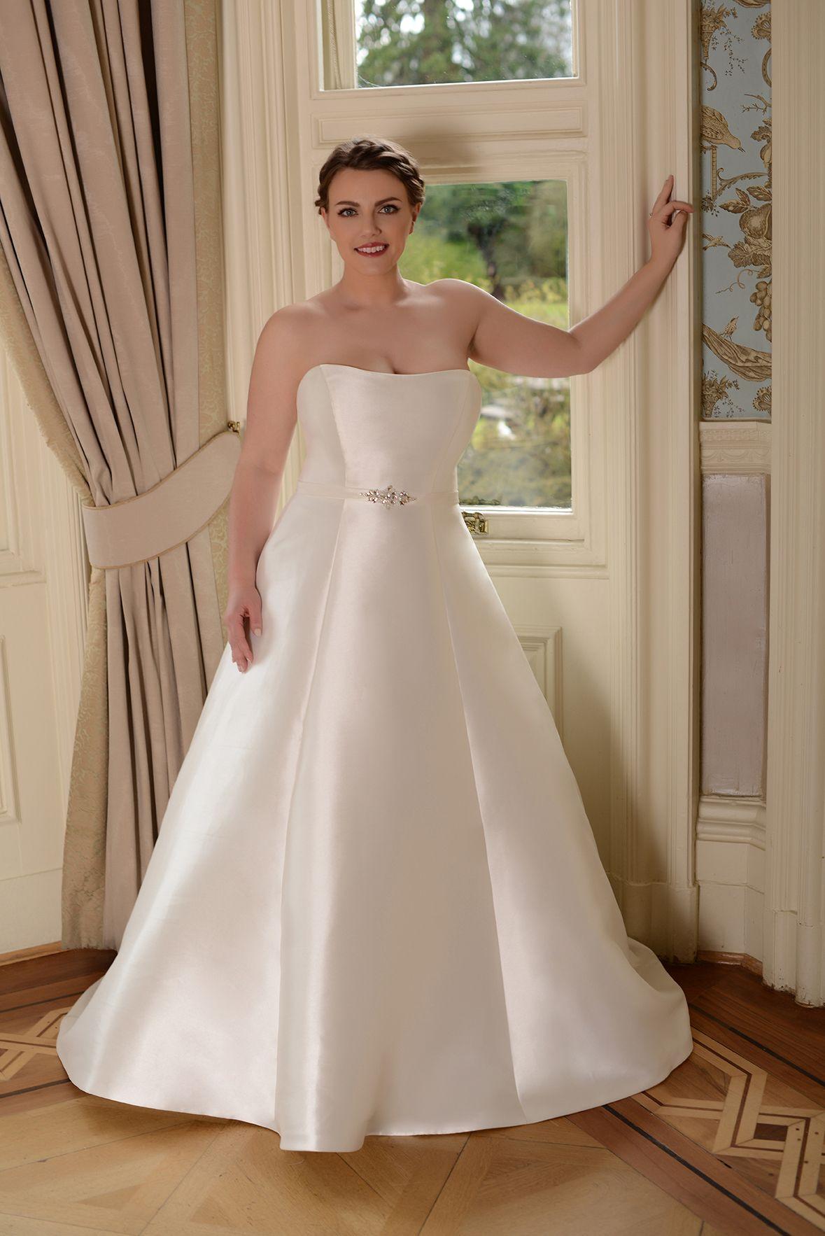 mikado simple plain princess ball gown plus size wedding