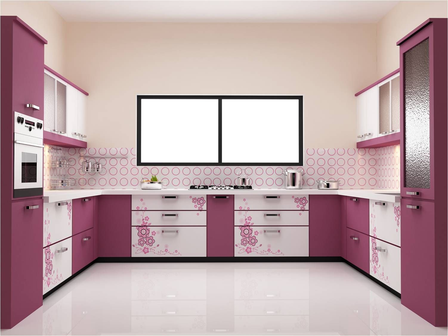 Indian modular kitchen designs chennai - Kitchen Design Entrancing Furniture Modern Design For Purple Modular Kitchen With Floral Decoration Ideas Feats White Painting Wall And Window Black Frame