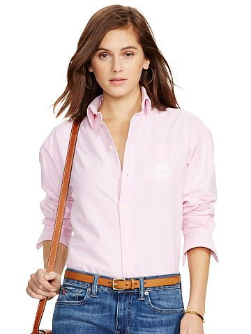 polo relaxed classic monogram shirt by Ralph Lauren. In soft cotton oxford,  this slightly oversized shirt is a timeless style in a modern, ...