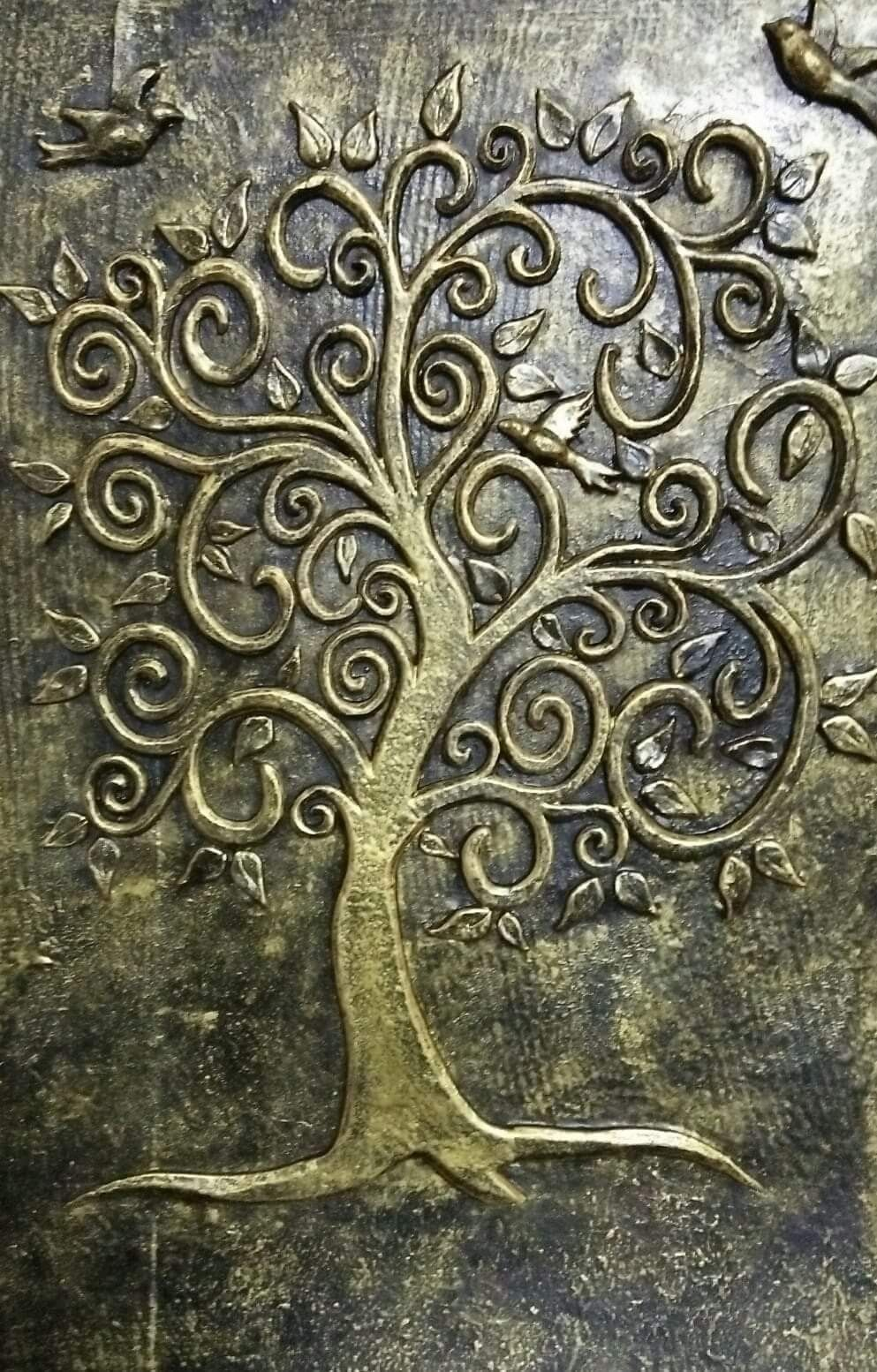 Pin By Gladys Isabel On Murals And Clay Relief Clay Wall Art Tree Painting Canvas Mixed Media Art Canvas