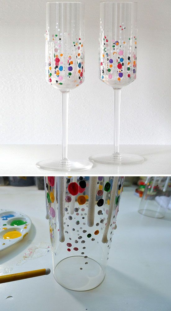 Confetti Champagne Glasses Click Pic For 22 Diy Glass Craft Ideas