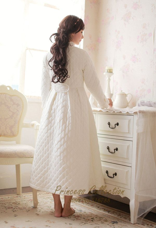 Free Shipping 100% Cotton Princess Nightgown Women\'s Winter Robe ...