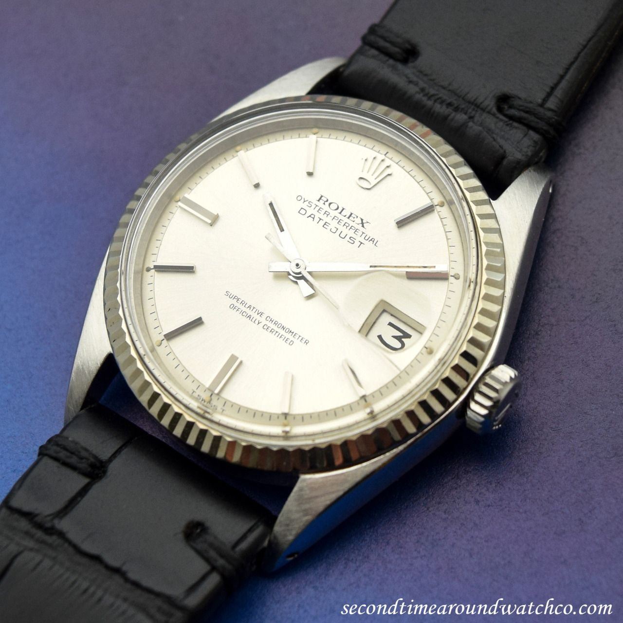 A 1970 Rolex Datejust Reference 1601 On A Vintage Style Matte Black Colored Alligator Watch Strap A Classic Exa Vintage Watches Vintage Rolex Watches For Men