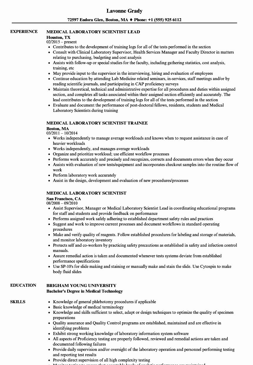 Clinical Laboratory Scientist Resume Best Of Medical Laboratory Scientist Resume Samples Blog