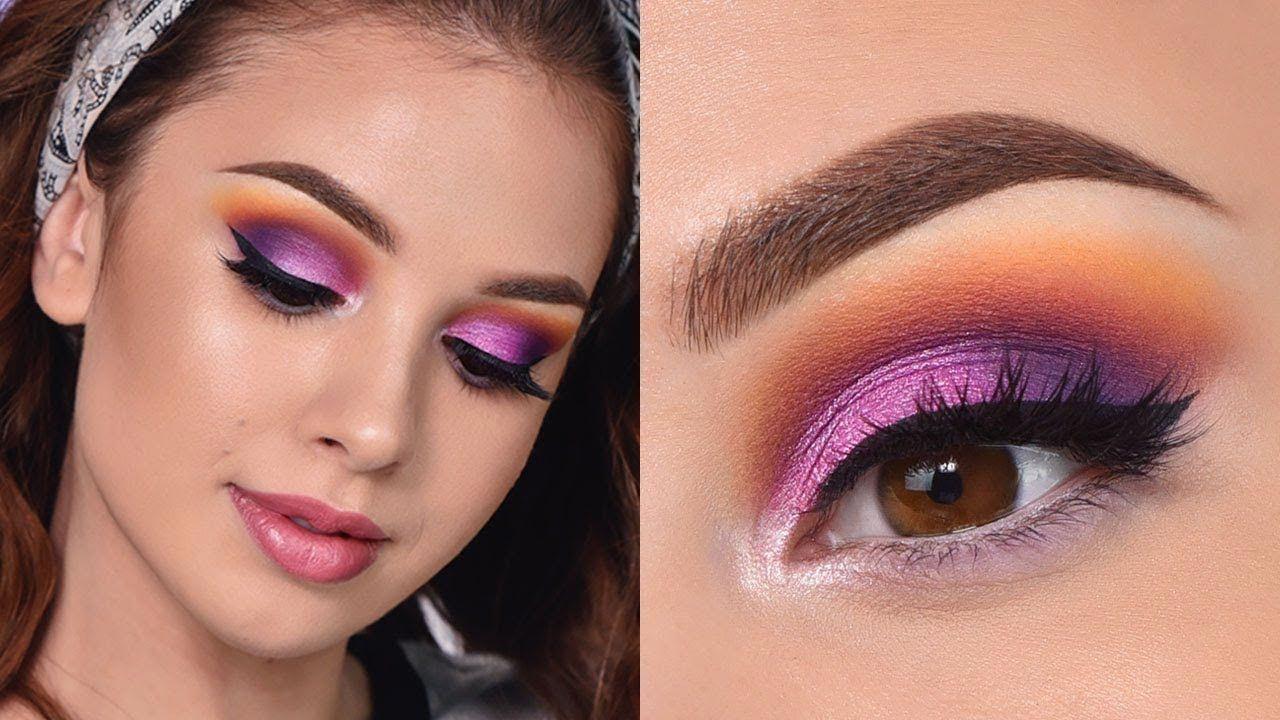 Fun Colorful Summer Makeup Tutorial Orange , Purple and