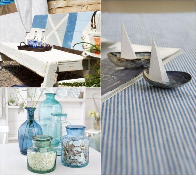 maritime deko ideen muscheln weiss blau farbe treibholz. Black Bedroom Furniture Sets. Home Design Ideas