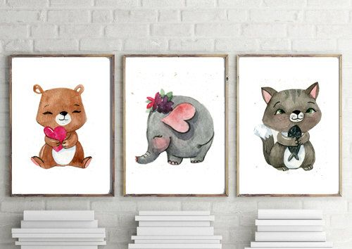 PRINTABLE ART nursery prints nursery wall art nursery decor nursery art woodland nursery woodland prints nursery printables bedroom decor bedroom wall art woodland nursery decor baby gift baby shower decorations baby shower gift animal print There is also a two pack here: https://www.etsy.com/au/your/shops/SunHouseDesigns/tools/SunHouseDesigns/au/listings/501784647 Featuring a Panda and a Hippo.