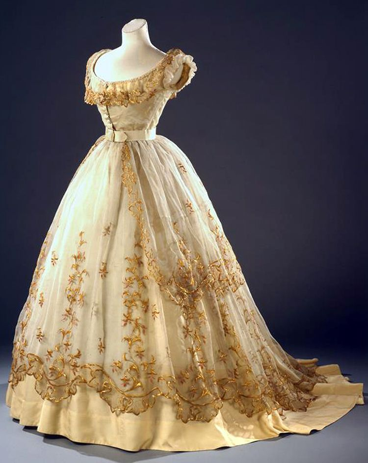 """Ballgown ca. 1865. """"The straw embroidery on this dress makes it particularly spectacular worn over a crinoline,"""" says Europeana blog about photo (by Christa Losta), from the Vienna Museum."""