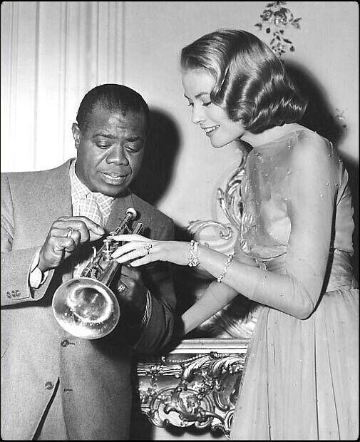 #Fifties | Louis Armstrong and Grace Kelly on the set of High Society, 1956