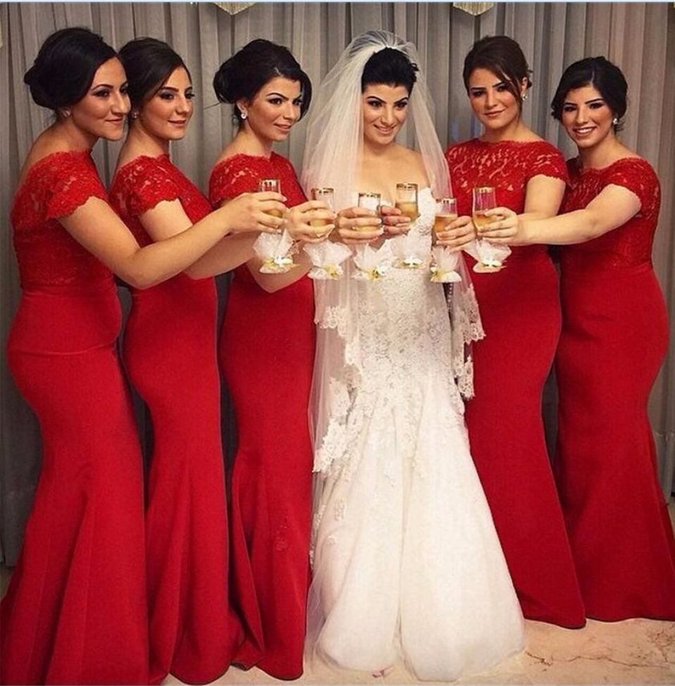 Red long bridesmaid dresses short sleeves scoop cheap lace maid of
