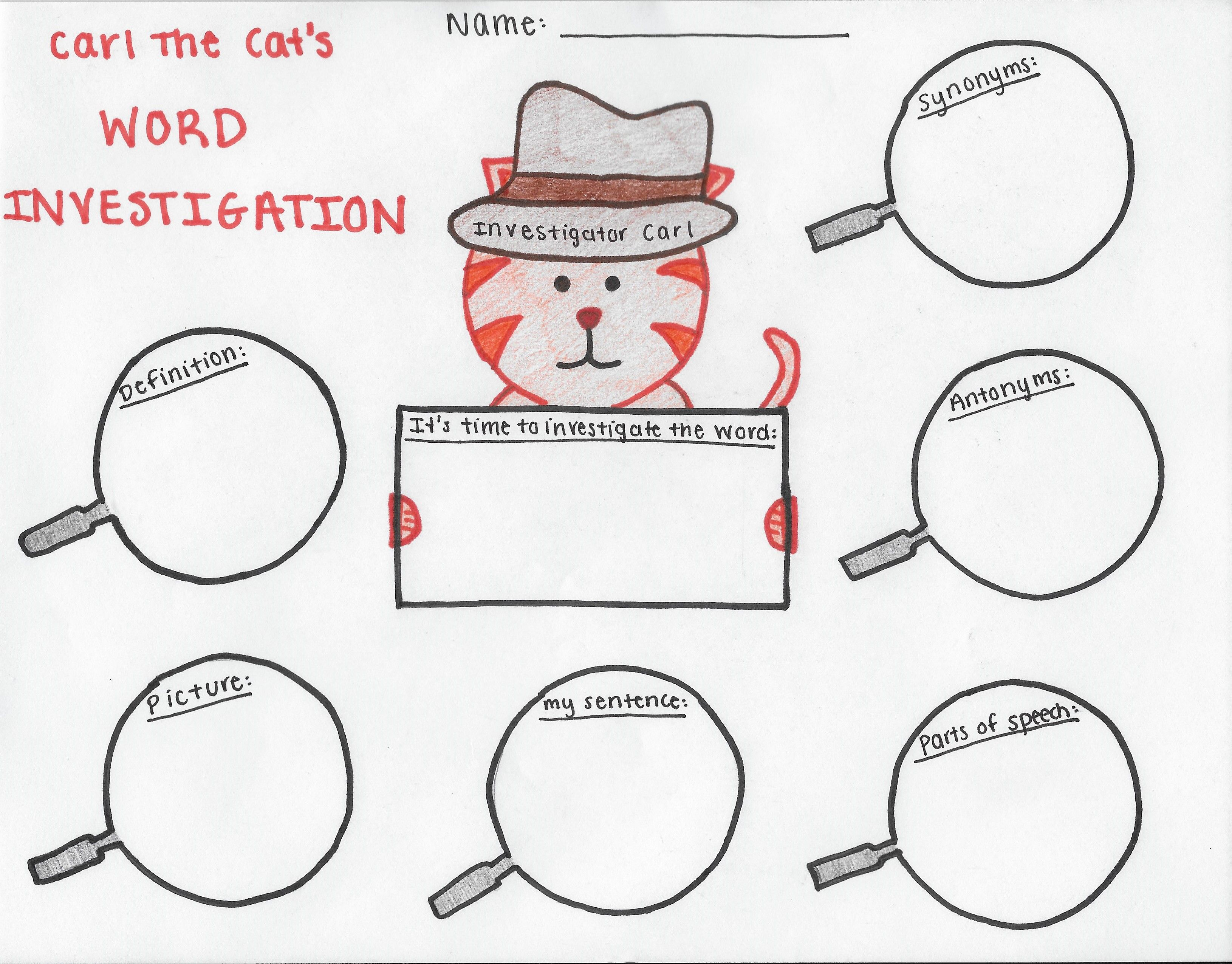 Vocabulary Search Graphic Organizer For 2nd 3rd Grade With