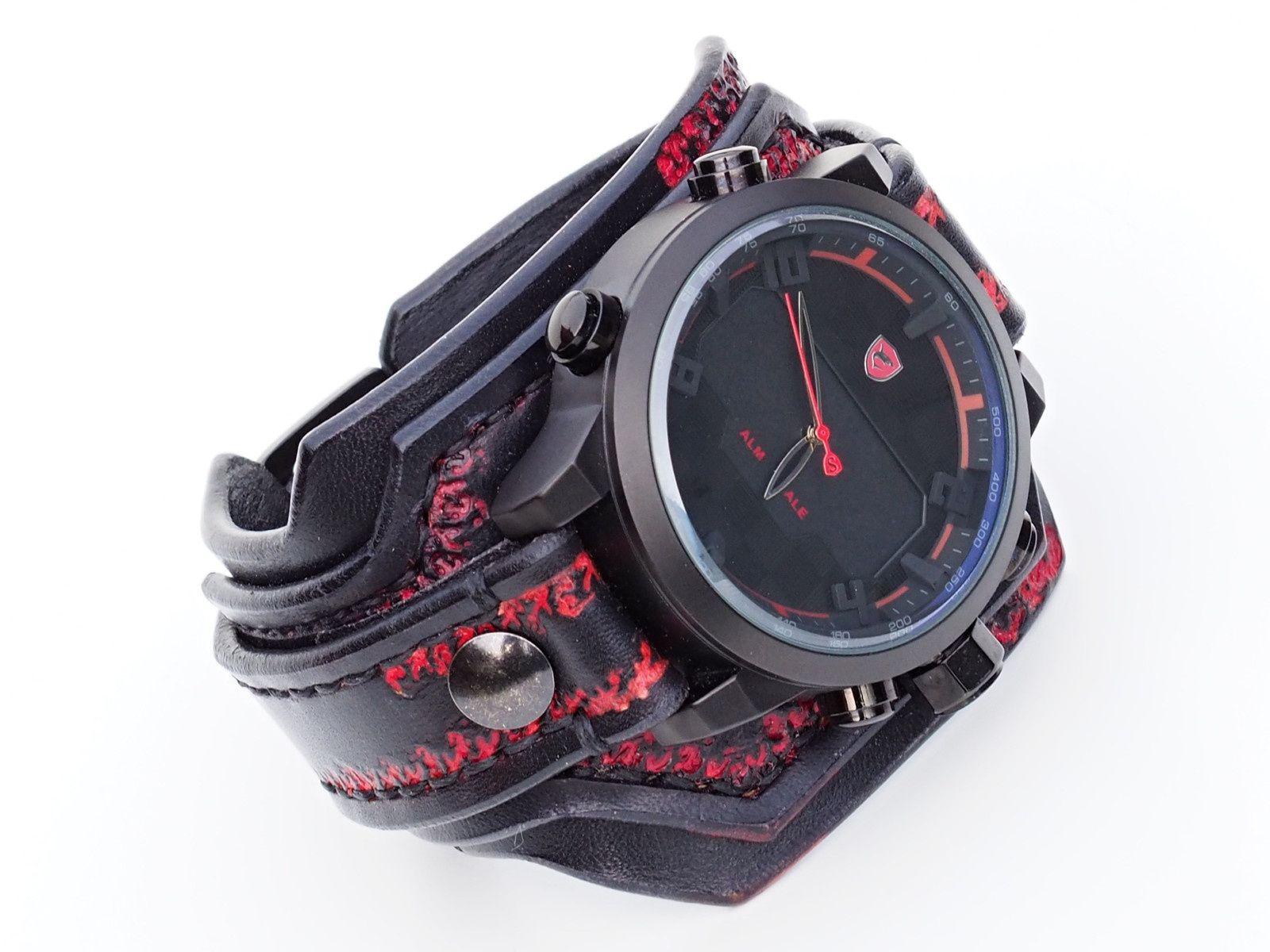 adf57766a Pánské+hodinky,+kožený+hodinky,+military+hodinky+Náramok+je+vyrobený ...