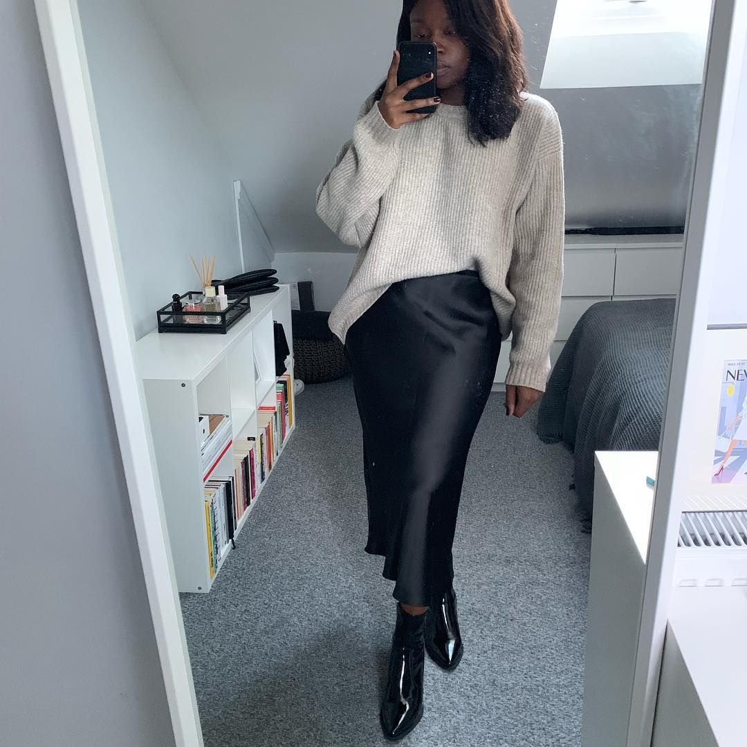 63576c5d34f SHOPUPP Grey oversized knit jumper Black satin bias cut midi skirt Topshop  patent ankle boots outfit
