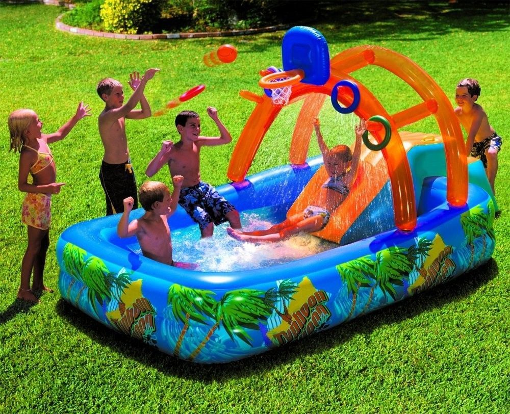 water slide kids pool inflatable outdoor funplay swimming backyard
