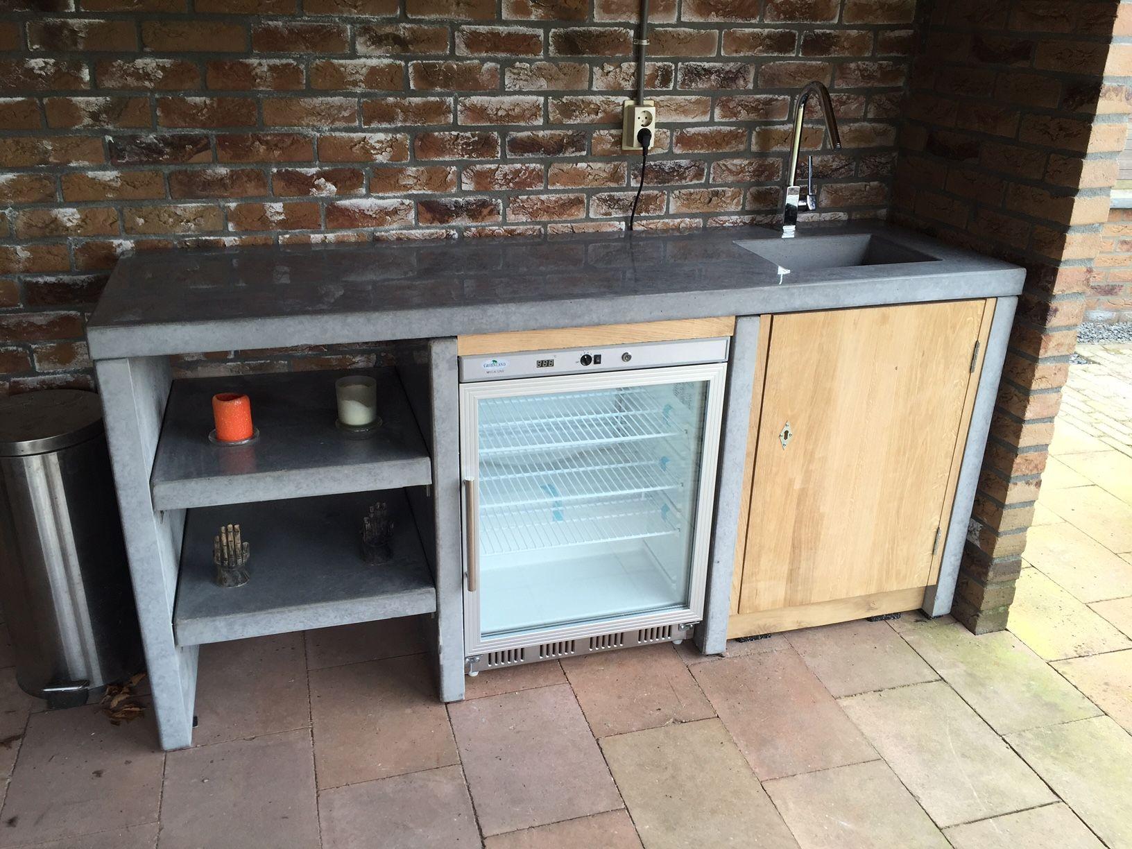 Buitenkeuken Koelkast/Spoelbak beton/Eiken kast - Keuken voor buiten ...