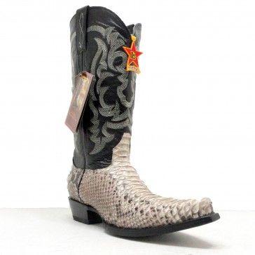 18dfd38381fa6 Los Altos Cowboy Boots Mens Exotic Natural Python Snake Snip Toe ...