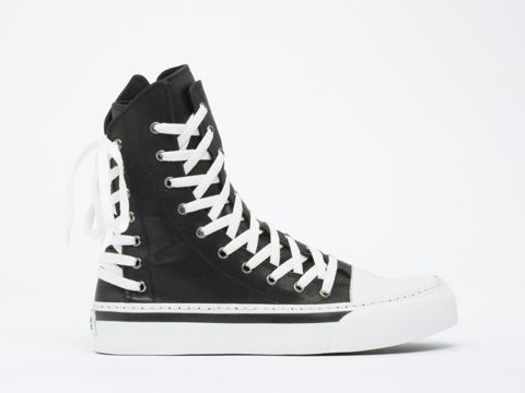 d44ac1f929eca K.T.Z. Triple Lace Leather Trainer Mens in Black White at Solestruck.com  Ugly Shoes
