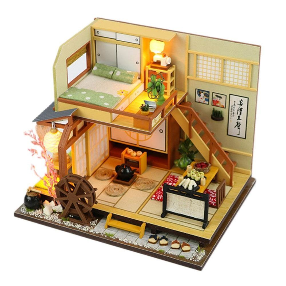 Miniature Dollhouse DIY Handcraft Kit Furnitures Wooden House Artwork Gift