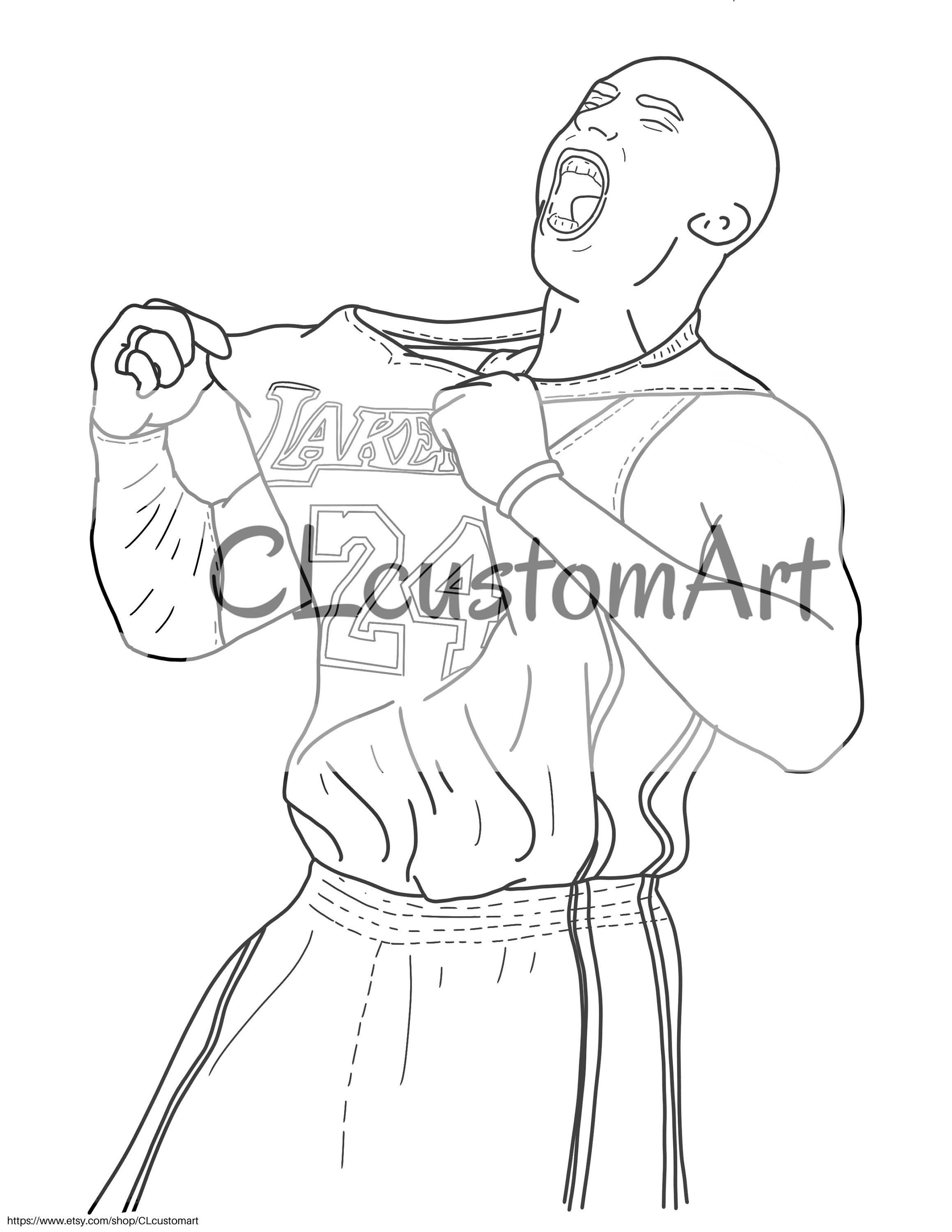 Kobe Bryant Coloring Page Instant Download Etsy Thanksgiving Coloring Pages Coloring Pages Coloring Pages Winter
