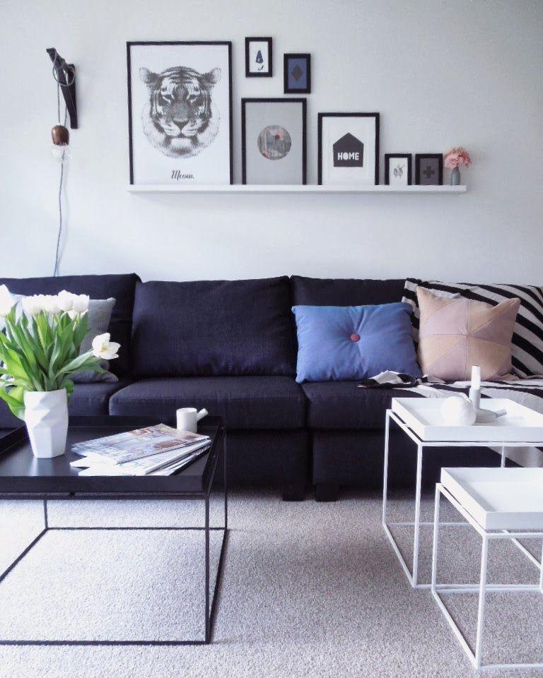Colorful Minimal Room: Simple Minimal Living Room Interior Design, Dark Blue