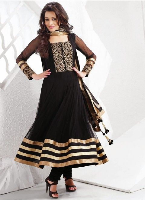 598a10fa8f3 Black Net Plus Size Salwar Kameez With Matching Dupatta