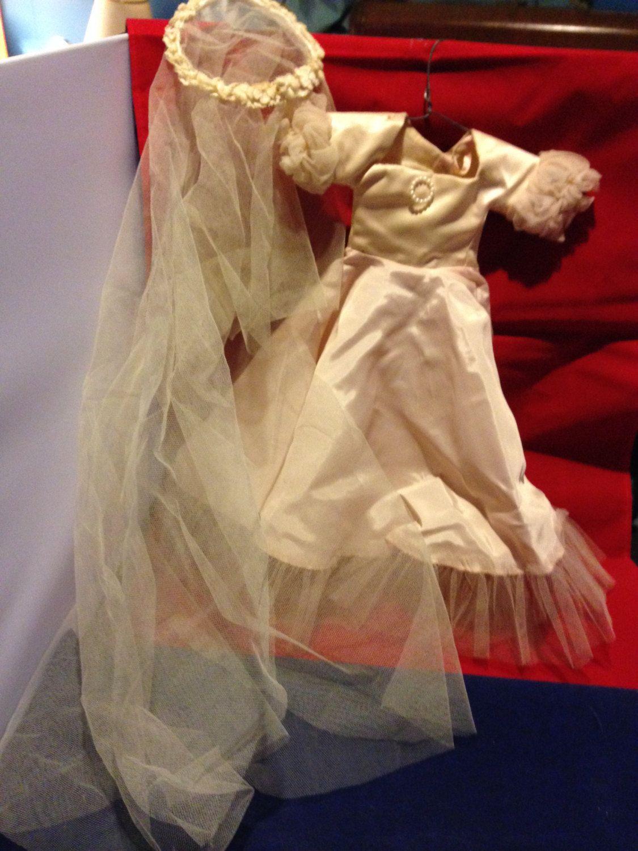 Doll wedding dress  Vintage doll wedding dress with viel by AuntieAnnsEmphorium on Etsy