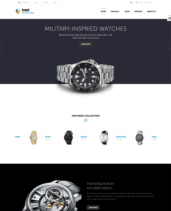 This minimal Shopify theme offers a responsive layout