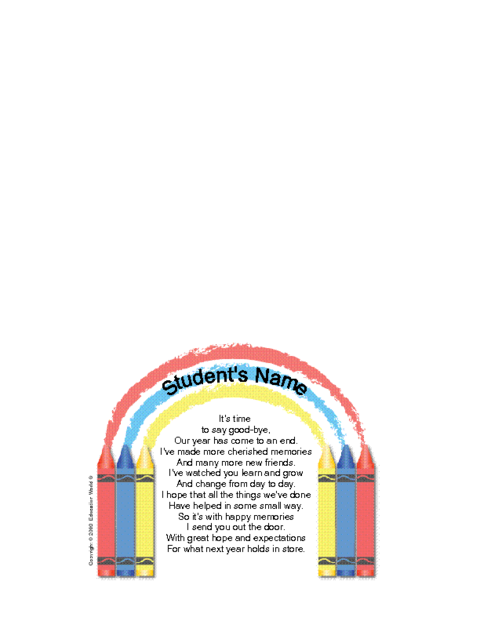 Education World Student Goodbye Letter Template School