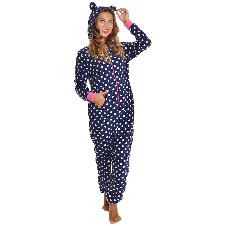 13904e82d9 Women s Fleece Novelty One-Piece Hooded Pajamas - Blue and White Dot -  CA186AL6MNO