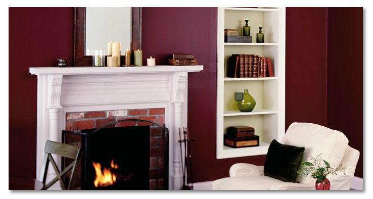 deep garnet red wall color for the dining nook -- will look nice