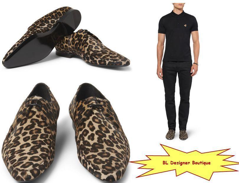 bf568e9c6757 BURBERRY PRORSUM Leopard Print Ponyskin Derby Shoes sz 44 EU 11 US NWB  750   BurberryProrsum  Derby