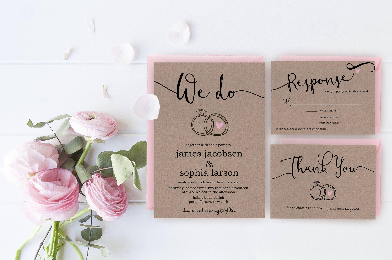 Rustic Wedding Invitation Printable Custom Wedding Invite Set