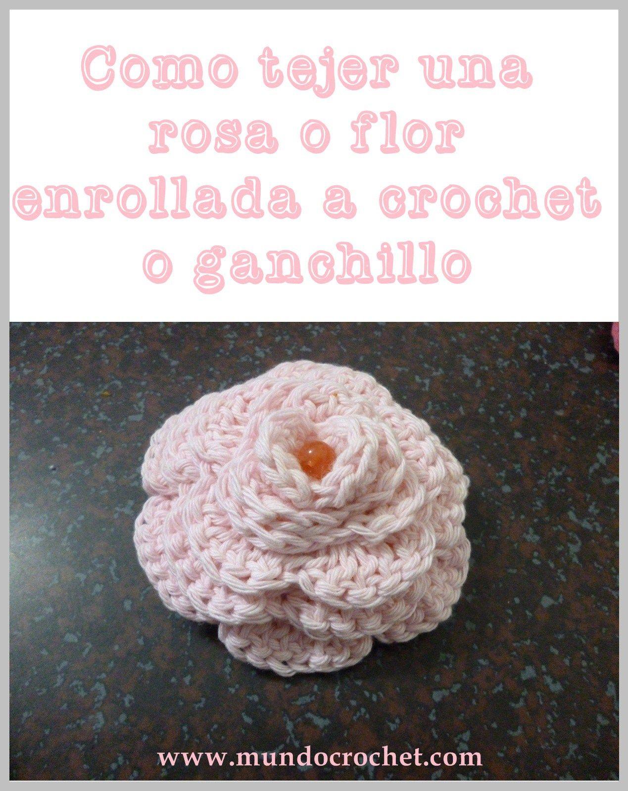 Como tejer una rosa o flor enrollada a crochet o ganchillo00