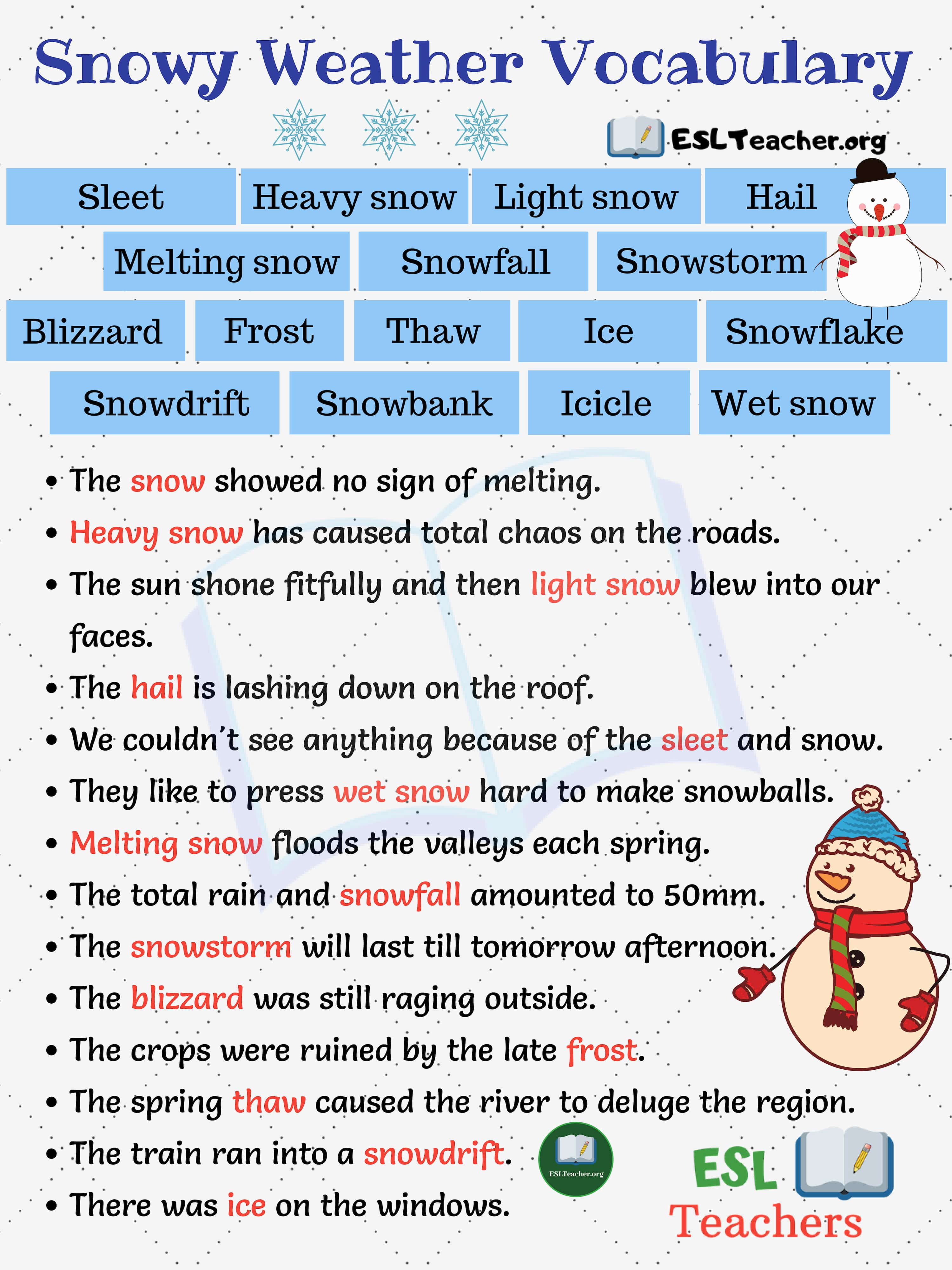 Snowy Weather How To Express Snowy Weather In Sentences