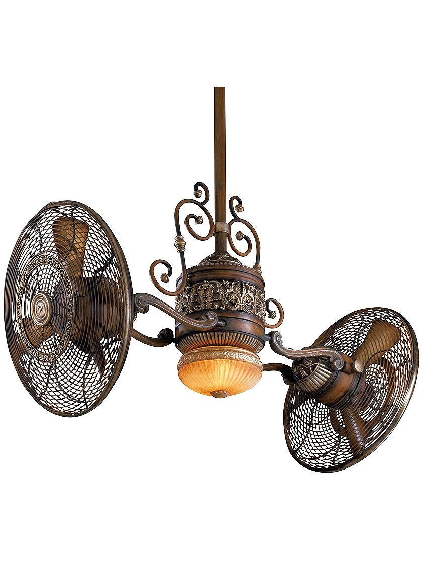 Traditional Gyro Twin Ceiling Fan In Belcaro Walnut Finish Now