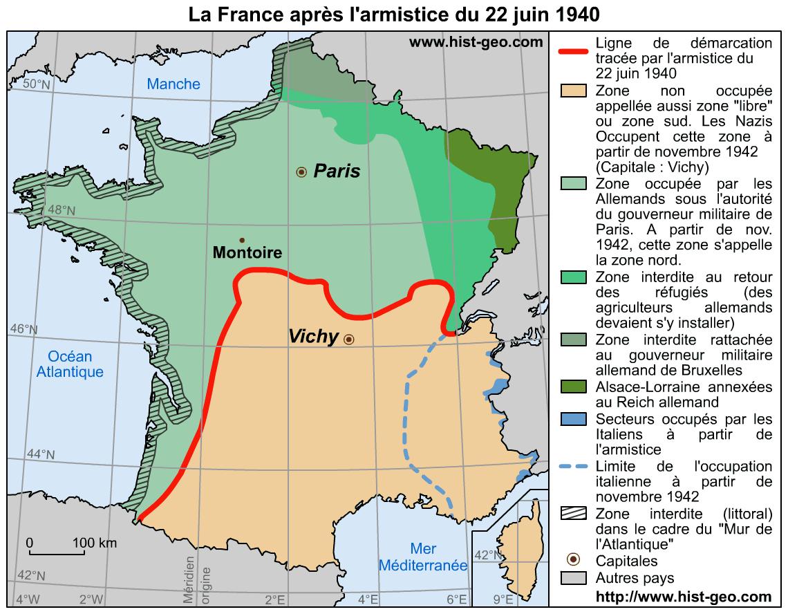 Map Of France 1940.Carte De La France Apres L Armistice Du 22 Juin 1940 Ligne De