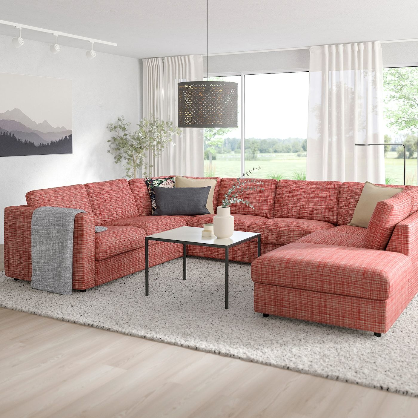 Vimle Sectional 6 Seat With Open End Dalstorp Multicolor Ikea In 2020 Ikea Wohnzimmer U Formiges Sofa Recamiere