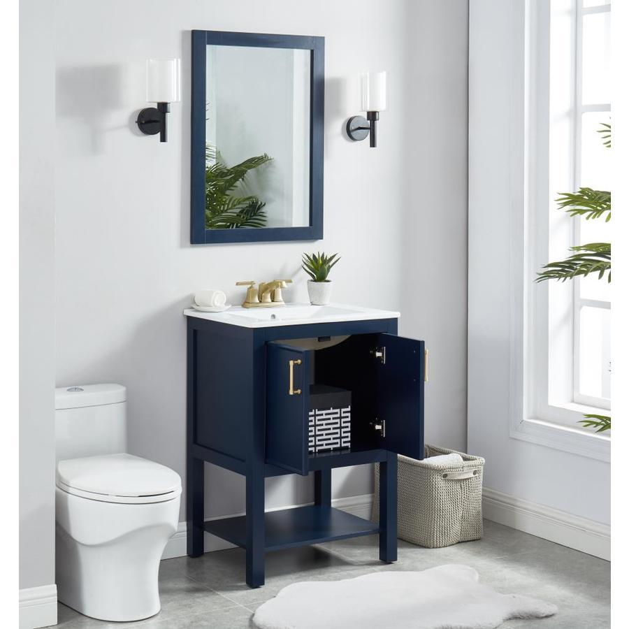 allen roth 24 in navy blue single sink bathroom vanity on lowes vanity id=79025